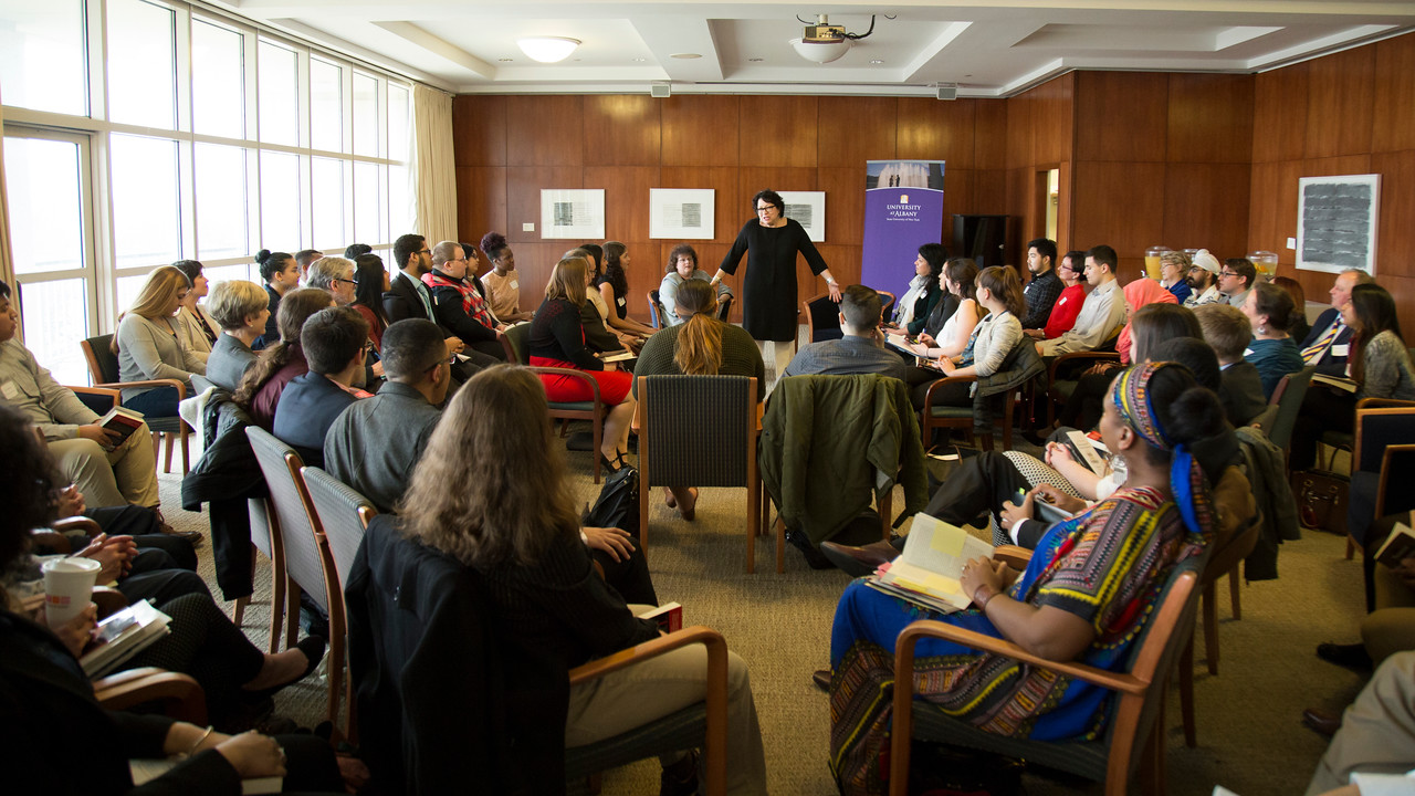 Justic Sotomayor speaks with students in the Standish Room