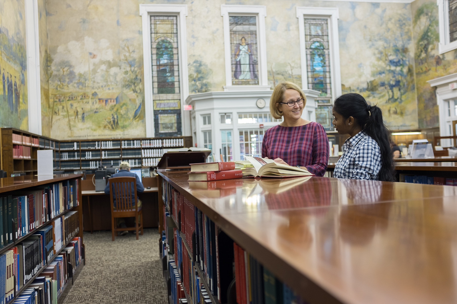 Librarian and Student at Dewey