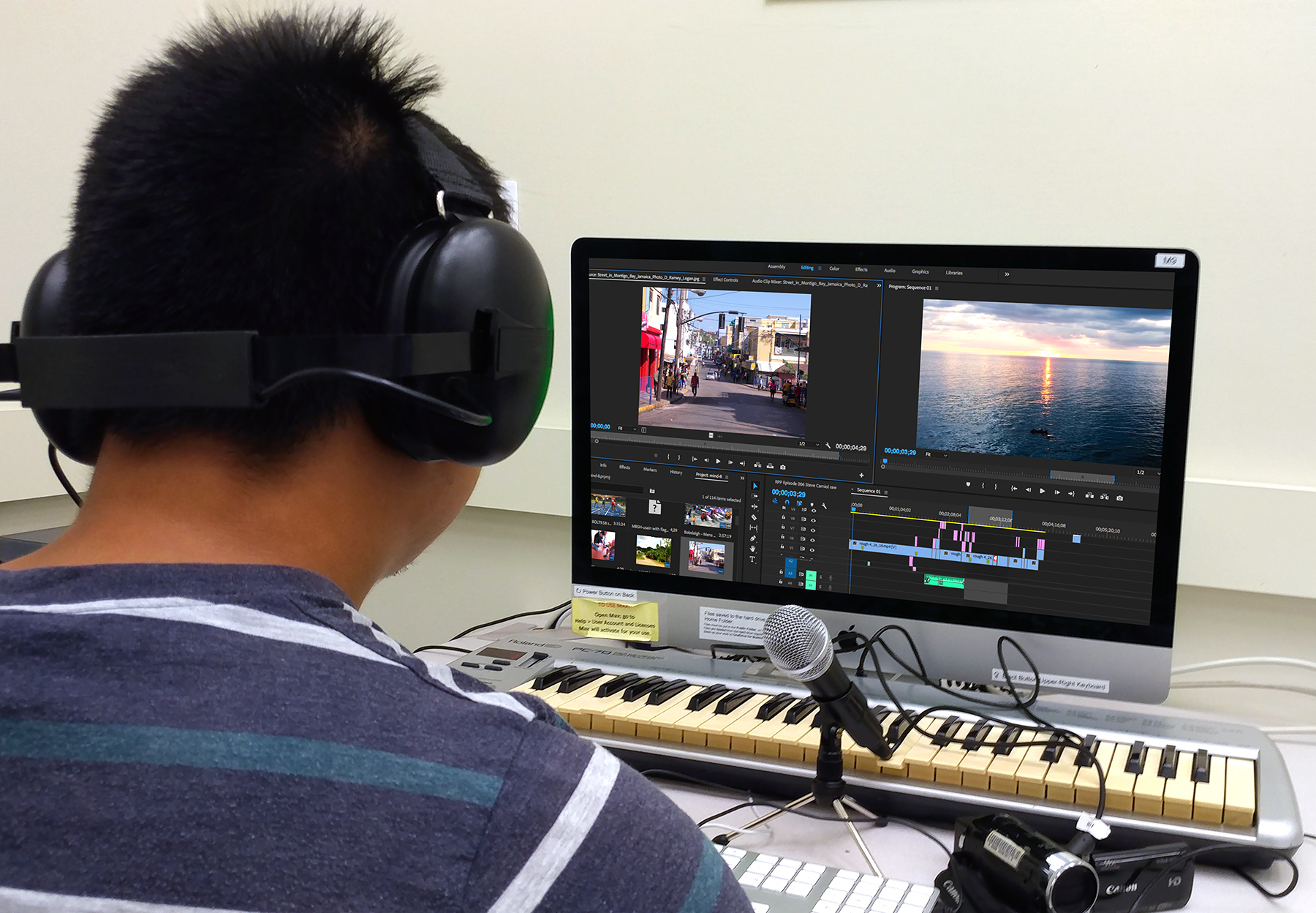 IMC student at Video Editing station