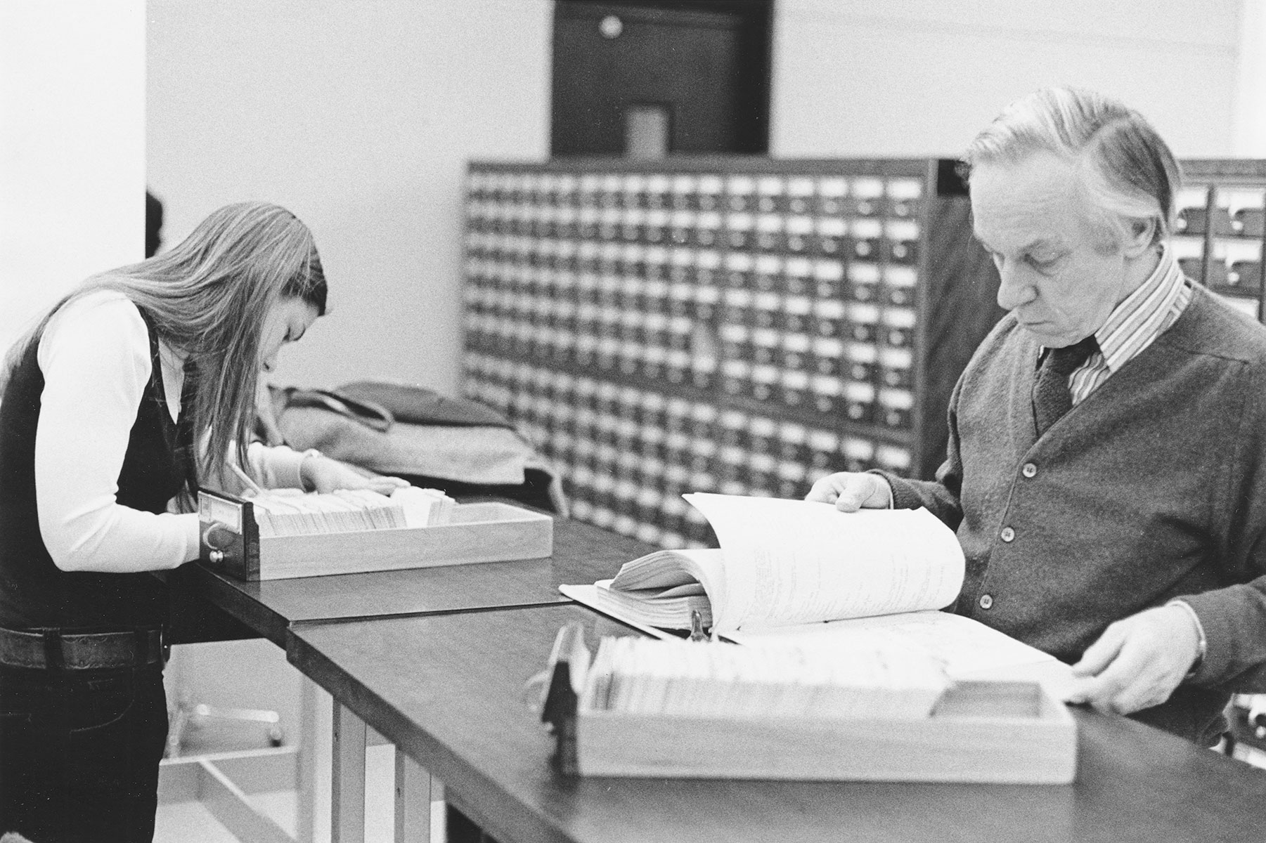 Researchers at the card catalog, circa 1970