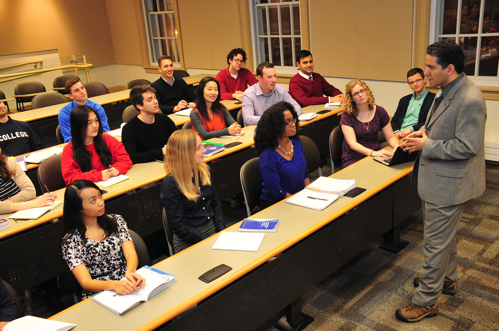 Professor lecturing students at Rockefeller College