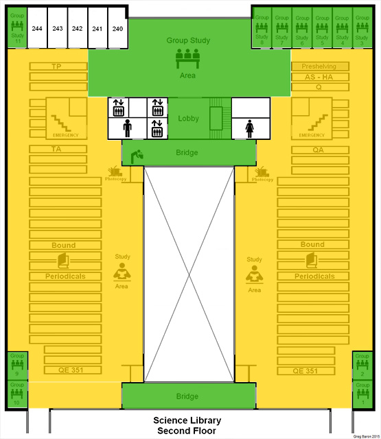 ZONE MAP - Science Library - Second Floor