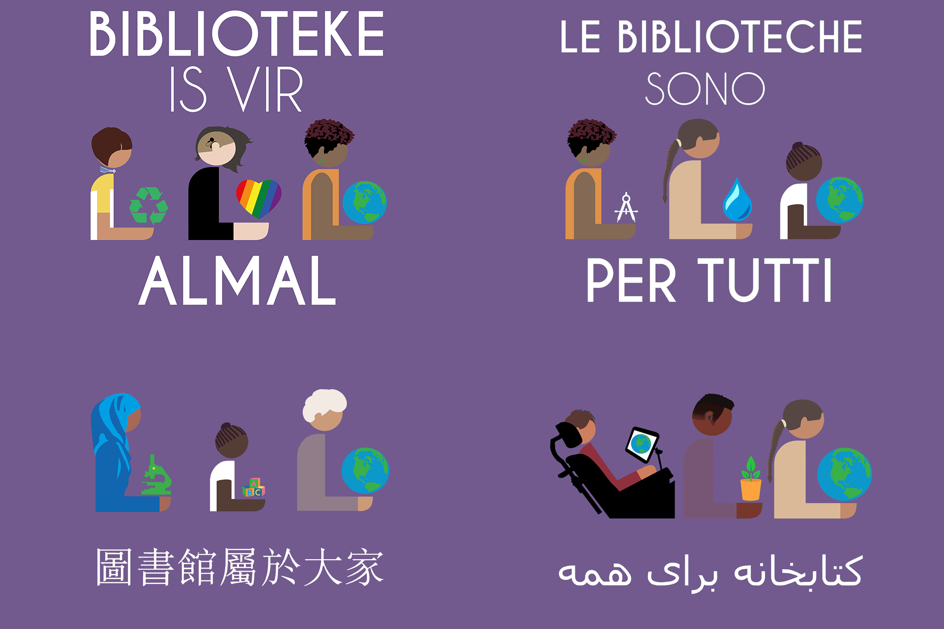 Libraries are for everyone in Afrikaans, Italian, Chinese, and Farsi.