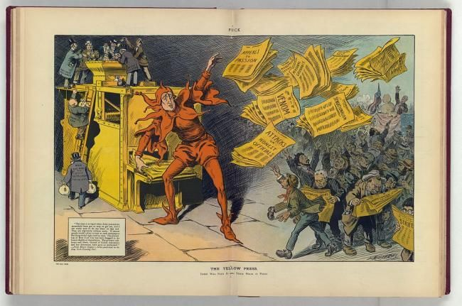 "The Yellow Press, by L.M. Glackens. Illustration shows William Randolph Hearst as a jester tossing newspapers with headlines such as ""Appeals to Passion, Venom, Sensationalism, Attacks on Honest Officials, Strife, Distorted News, Personal Grievance, [and] Misrepresentation"" to a crowd of eager readers, among them an anarchist assassinating a politician speaking from a platform draped with American flags; on the left, men labeled ""Man who buys the comic supplement for the kids, Businessman, Gullible Reformer"