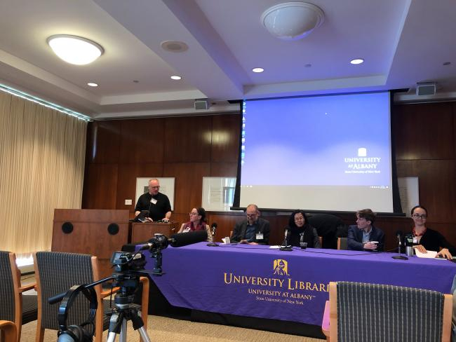 Professor Dave Hochfelder moderates a panel discussion