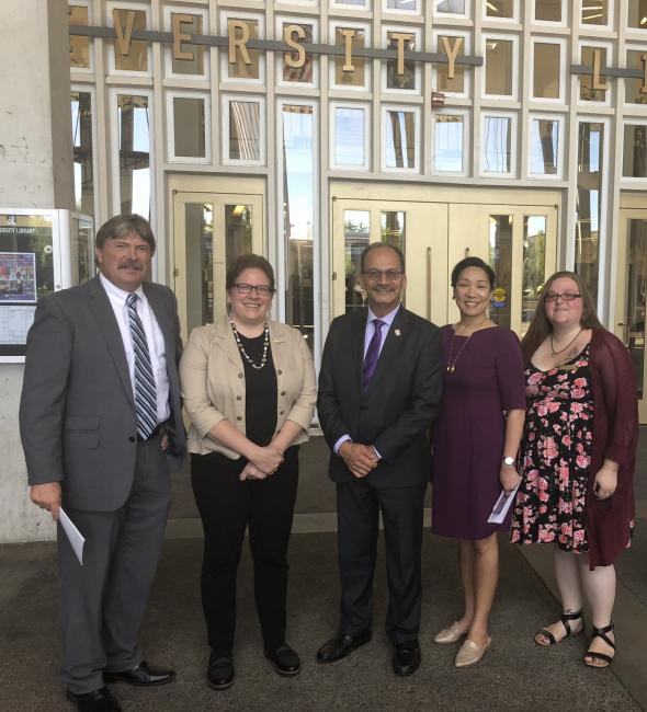 From left to right: Vice President for Finance and Administration Todd Foreman, Dean Rebecca Mugridge, President Havidán Rodríguez, Provost Carol Kim, and event-organizer Amanda Lowe